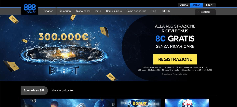 888 Poker homepage