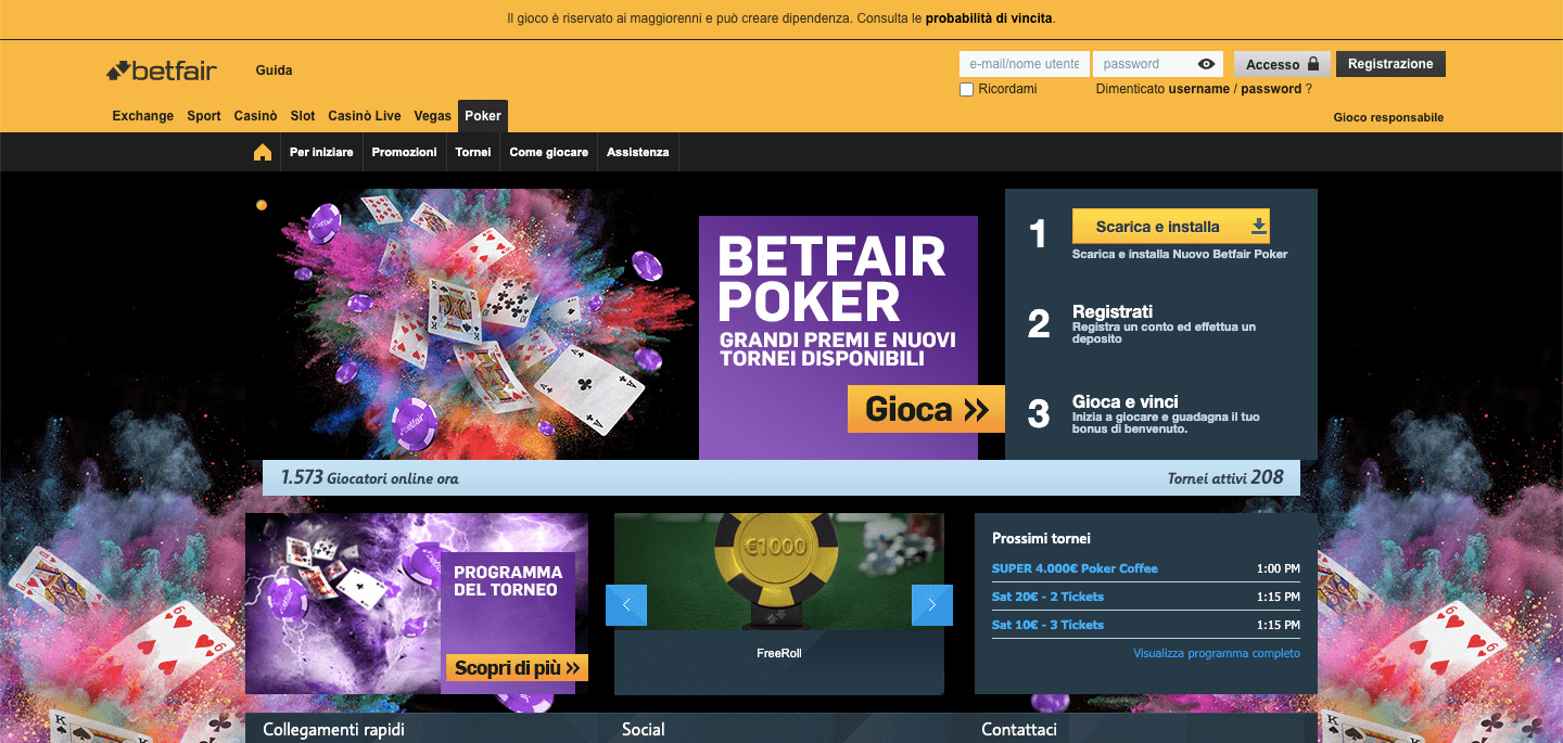 Betfair Poker homepage