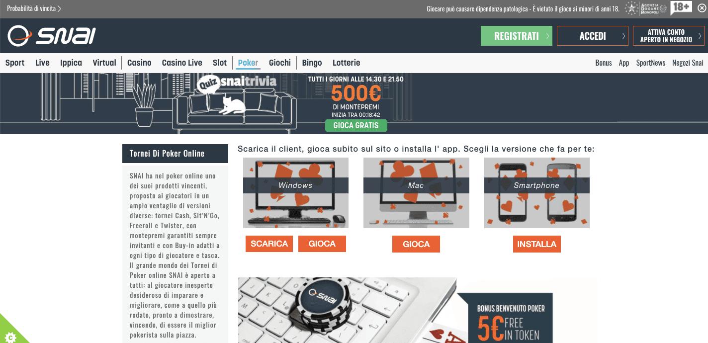 Snai Poker homepage