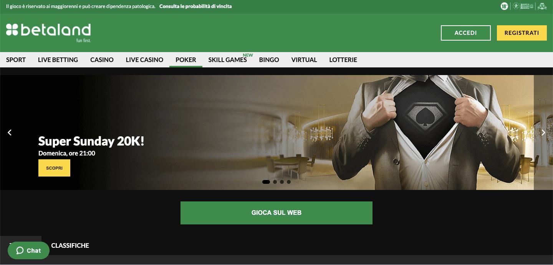 Betaland Poker homepage
