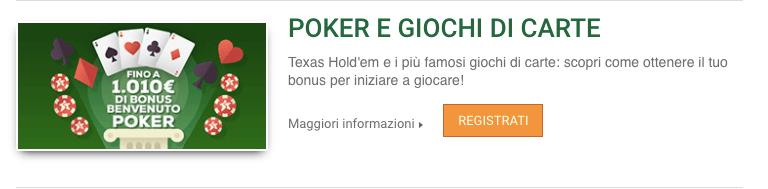 Sisal Poker Bonus Benvenuto