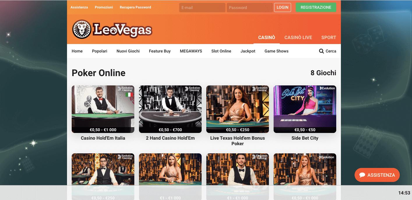 LeoVegas poker home